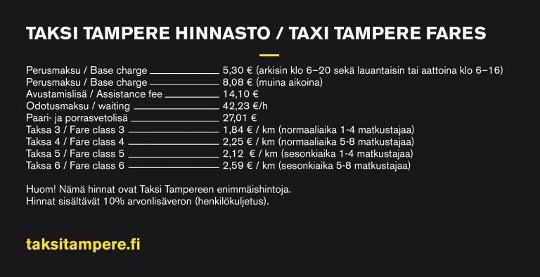 Taksi Tampere hinnasto